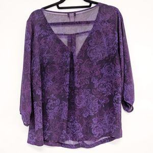 torrid Tops - torrid | purple 3/4 sleeve floral blouse top sz 1